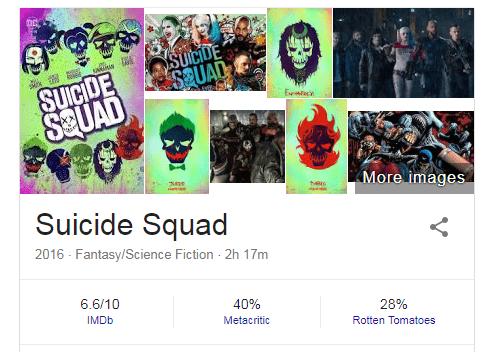 Điểm số khác nhau giữa IMDb, Rotten Tomatoes và Metacritic dành cho bộ phim Suicide Squad (2016).