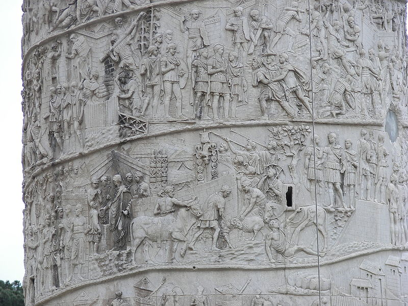 Cột Trajan khắc họa lại 2 chiến dịch quân sự thắng lợi của Trajan trước quân Dacian.